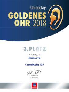 Goldenes Ohr 2018 AUDIO 2. Platz X35 Musikserver