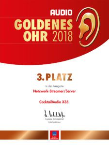 Goldenes Ohr 2018 AUDIO 3. Platz X35 Netzwerk/Streamer Server